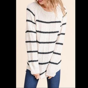 DOE & RAE The GUÐRÚN Striped Round Neck Sweater S